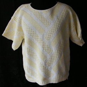 Vintage Sweater Crew neck short Sleeve Yellow
